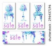 furniture sale watercolor... | Shutterstock .eps vector #296437196