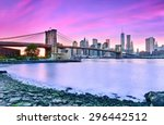 view of new york city at dusk. | Shutterstock . vector #296442512