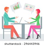 two sitting sideways at the... | Shutterstock .eps vector #296443946