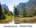 idyllic landscape at lake... | Shutterstock . vector #296447582