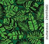 seamless tropical jungle... | Shutterstock .eps vector #296455682