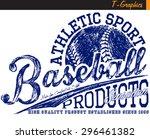 baseball graphics vintage... | Shutterstock .eps vector #296461382