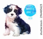 dog hand painted watercolor... | Shutterstock .eps vector #296485625