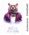 cute fashion hipster animals... | Shutterstock .eps vector #296485685