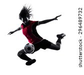one woman playing soccer player ... | Shutterstock . vector #296489732