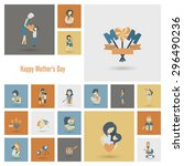 happy mothers day simple flat... | Shutterstock . vector #296490236