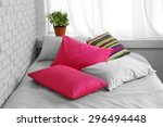 Comfortable Bed With Colorful...