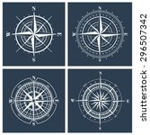 set of compass roses or... | Shutterstock . vector #296507342
