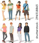 group of fashion cartoon young... | Shutterstock .eps vector #296518865