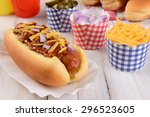 Closeup Of A Grilled Chili Dog...