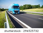blue truck on asphalt... | Shutterstock . vector #296525732