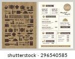 restaurant menu design template ... | Shutterstock .eps vector #296540585
