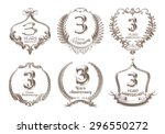 anniversary retro badges and... | Shutterstock . vector #296550272