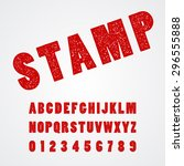 stamp alphabetic font and number | Shutterstock .eps vector #296555888