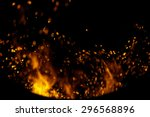 sparks of fire on a black... | Shutterstock . vector #296568896