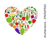 heart from healthy food. green... | Shutterstock .eps vector #296569562