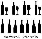 silhouettes of glasses and... | Shutterstock .eps vector #296570645