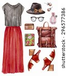 vector hand drawn collage of... | Shutterstock .eps vector #296577386