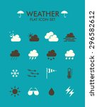 vector flat icon set   weather  | Shutterstock .eps vector #296582612