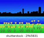 Boston skyline in springtime with daffodils in bloom