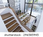 top view of a modern dining... | Shutterstock . vector #296585945