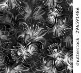 seamless pattern. flowers drawn ... | Shutterstock . vector #296591486