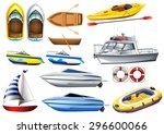 boats of varying sizes... | Shutterstock .eps vector #296600066
