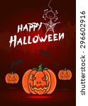 vector   happy halloween card ... | Shutterstock .eps vector #296602916