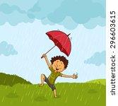 cute little boy with umbrella ... | Shutterstock .eps vector #296603615