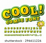 Creative high detail yellow & green comic font. Alphabet in style of comics, pop art. Multilayer funny colorful 3d letters and figures for decoration of kids' illustrations, websites, comics, banners