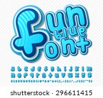 Creative high detail comic font. Alphabet in style of comics, pop art. Multilayer funny colorful 3d letters in a blue color and figures for of kids' illustrations, websites, posters, comics, banners