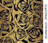 elegant black rose pattern on... | Shutterstock .eps vector #296615972