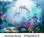 the underwater world with... | Shutterstock .eps vector #296628215