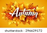 autumn typographic. fall leaf....   Shutterstock .eps vector #296629172