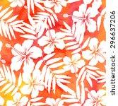 red watercolor vector hibiscus... | Shutterstock .eps vector #296637206