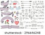 wedding decor elements set... | Shutterstock . vector #296646248