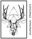 hand drawn vector deer horn... | Shutterstock .eps vector #296651612
