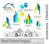 real estate logos set. vector... | Shutterstock .eps vector #296660105