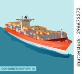 cargo ship with containers on... | Shutterstock .eps vector #296673272