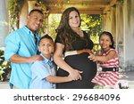 a biracial family of four... | Shutterstock . vector #296684096