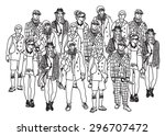 isolate group young fashion... | Shutterstock . vector #296707472