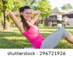 sporty fit healthy young woman...   Shutterstock . vector #296721926