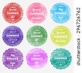summer offer stickers with... | Shutterstock .eps vector #296726762