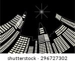 warped city at night   unique... | Shutterstock .eps vector #296727302