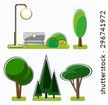 bench under a street lamp  park ... | Shutterstock .eps vector #296741972