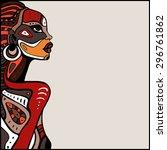 profile of beautiful african...   Shutterstock .eps vector #296761862