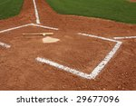 Home Plate With A Baseball   Bat