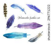 watercolor feathers set in blue ...