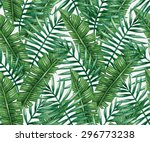 watercolor tropical palm leaves ... | Shutterstock .eps vector #296773238
