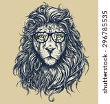Stock vector hipster lion vector illustration glasses separated 296785535